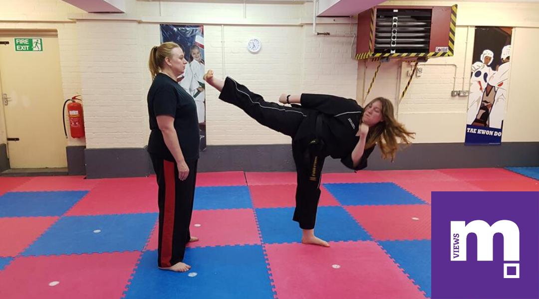 A Student Practicing Taekwondo
